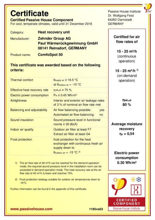 passive certificate comfospot zehnder pdf